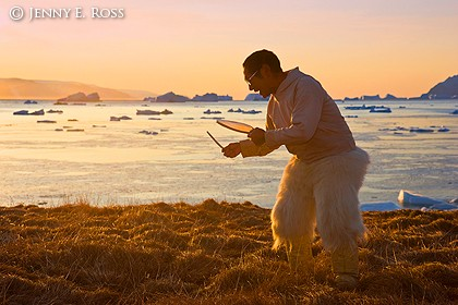 Traditional Inuit Drum Dance at Sunset